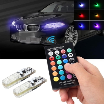 Dropshipping 2 PCS T10 2W Auto Flash Strobe Fade Smooth Remote Controlled Colorful car LED Clearance Decorative Light