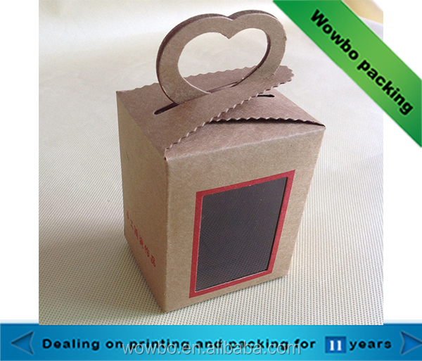 Brown kraft paper cake dessert take away packaging boxes with paper handles