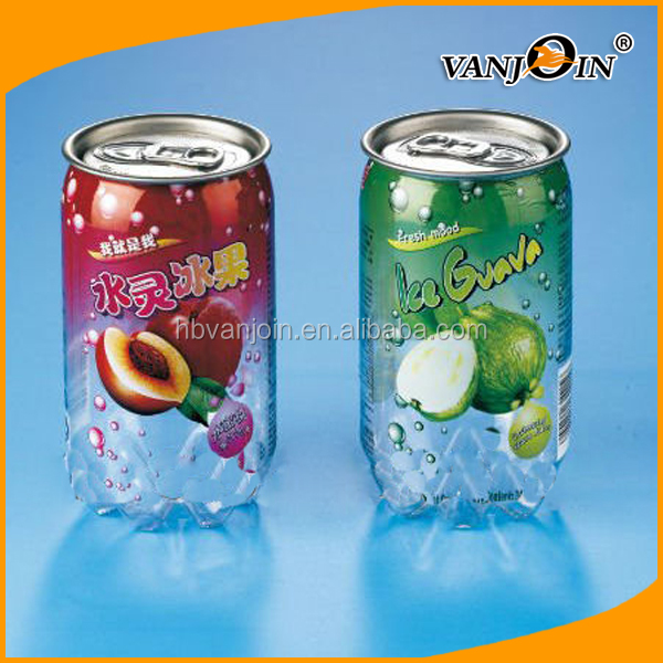 Custom PET Transparent Soft Drink Can Plastic Soda Can Beverage Can With Easy Open End