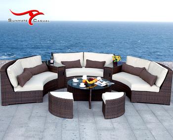 Semi-circle Modern Garden Patio Furniture Aluminum Outdoor Sectional Rattan  Wicker Sofa Set - Buy Rattan Sofa,Rattan Furniture Sofa Set,Outdoor Rattan  ...