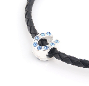 Latest design fashion metal silver plated blue crystal luckly horseshoe bead landing factory