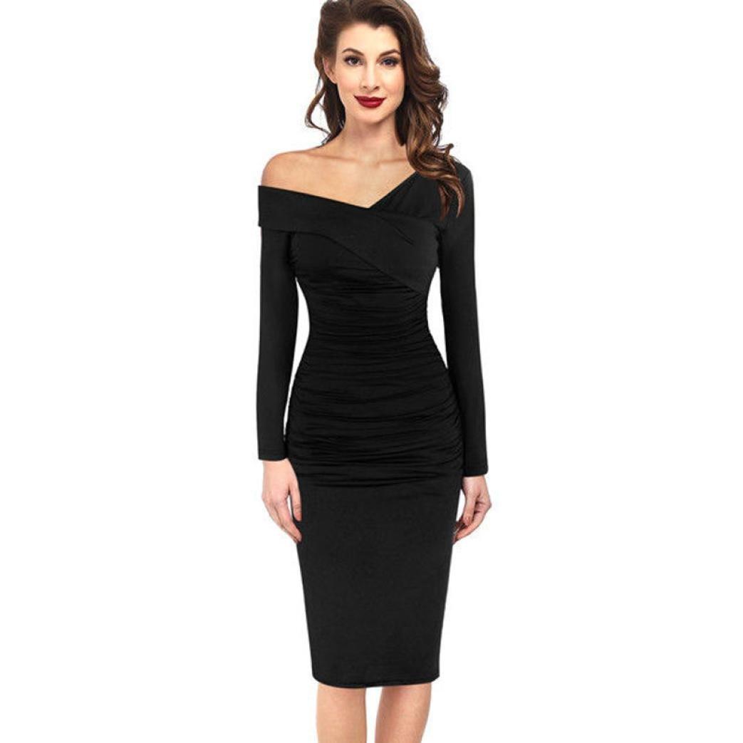 5c914d9b33 Get Quotations · Women Dress Daoroka Women s Sexy Deep V-Neck Oblique Off  Shoulder Evening Bodycon Ruffle Club