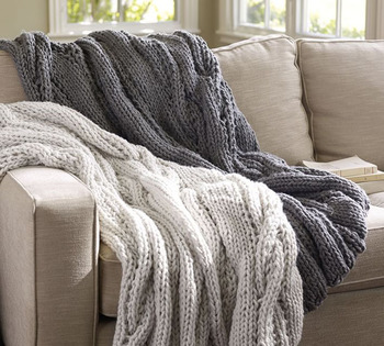 Szplh Hand Knit Chunky Cable Throw Blanket For Sofa
