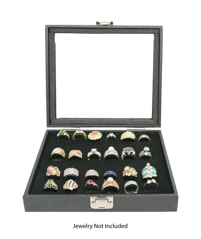 Black Glass Top 18 Pair Cufflinks Jewelry Showcase Storage Organizer Display Case