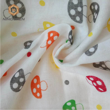 cotton gauze Exported good quality white color double gauze fabric custom printed 100% cotton double muslin gauze diaper fabric