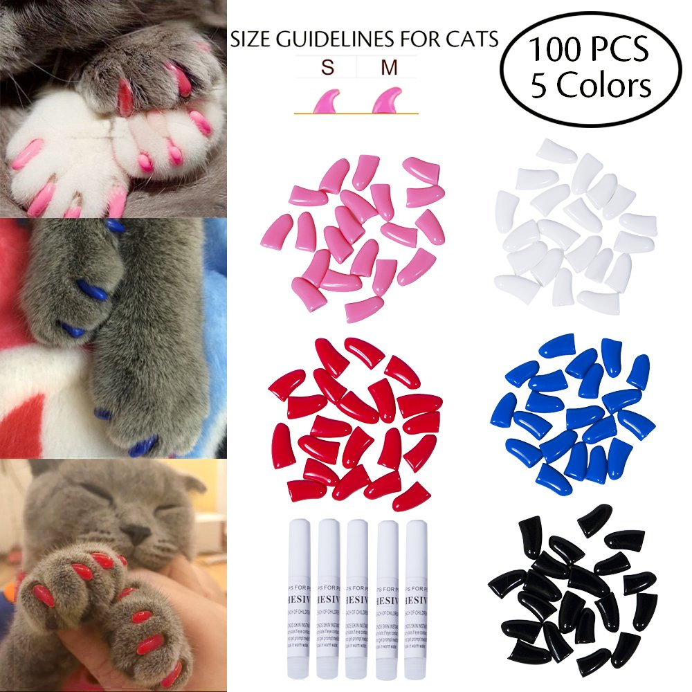 Dollshouse 100 PCS Soft Pet Cat Nail Paws Claws Caps Cats Paws Nail Covers of 5 Kinds Different Colors and 5PCS Adhesive Glues with Instructions