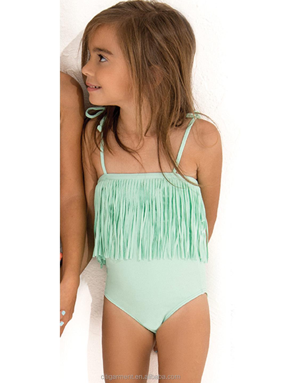 e974ee37aa02 Enfants Filles Pistache Une Pièce Avec Longues Franges Maillots De Bain  (2-6years) - Buy Maillot De Bain Bikini Enfant