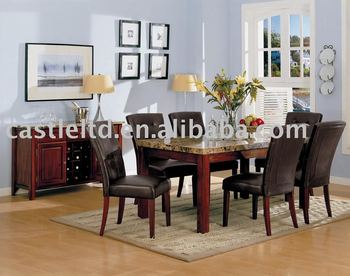Wooden Circle Marble Dining Table Set With Black Leather Chair