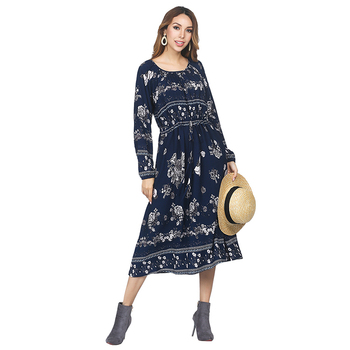 2018 Women Navy Blue Floral Printed Casual Dress Round Neck Drawstring Slim Fit Online Shopping