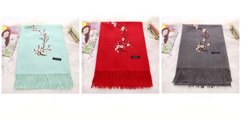 Factory Wholesale Tassel Floral Embroidered Cashmere Scarf Pashmina