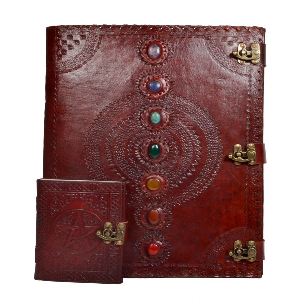 Seven Chakra Leather Journal Travel Diary with Pentagram Embossed Handmade Notebook For Men & Women Antique Quality Unlined Cream Paper Perfect for Notes Art Sketchbook