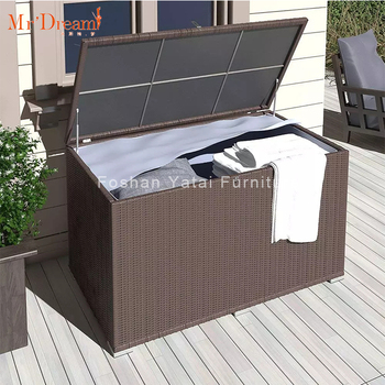 New Design Waterproof Kd Deck Rattan Outdoor Storage Box With Cover