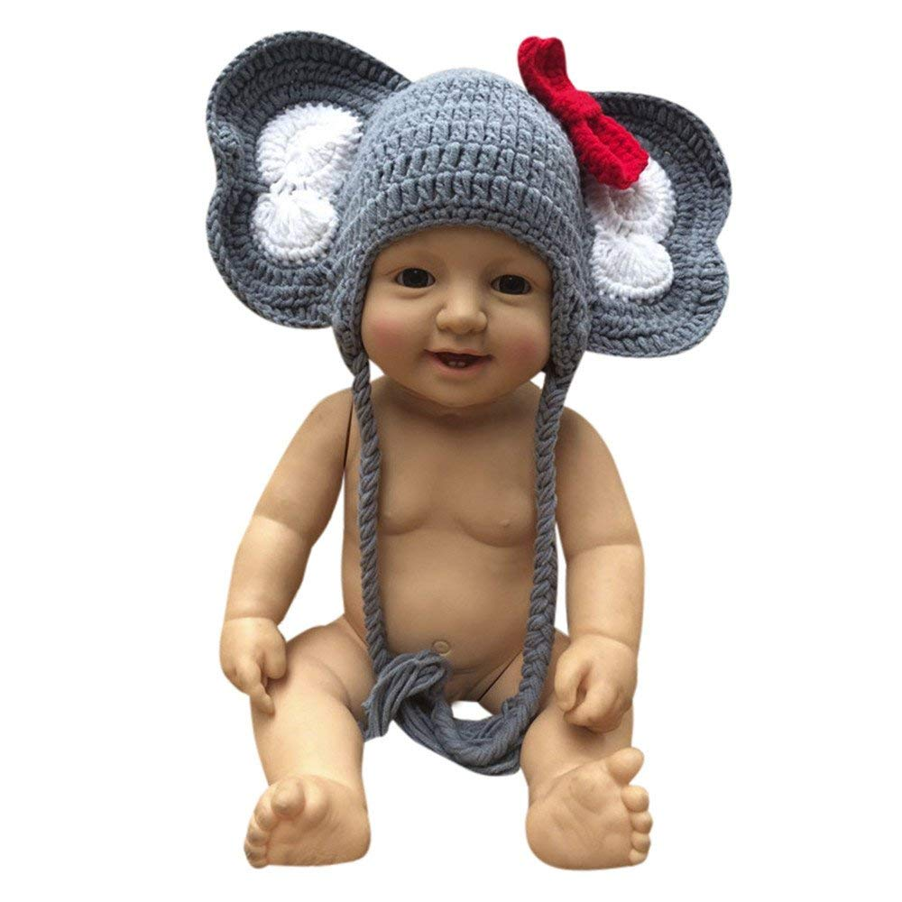 Jshuang Handmade Animal Shape Elephant Hat Braided Baby Knit Hat, 0-6 Months Children (Gray)