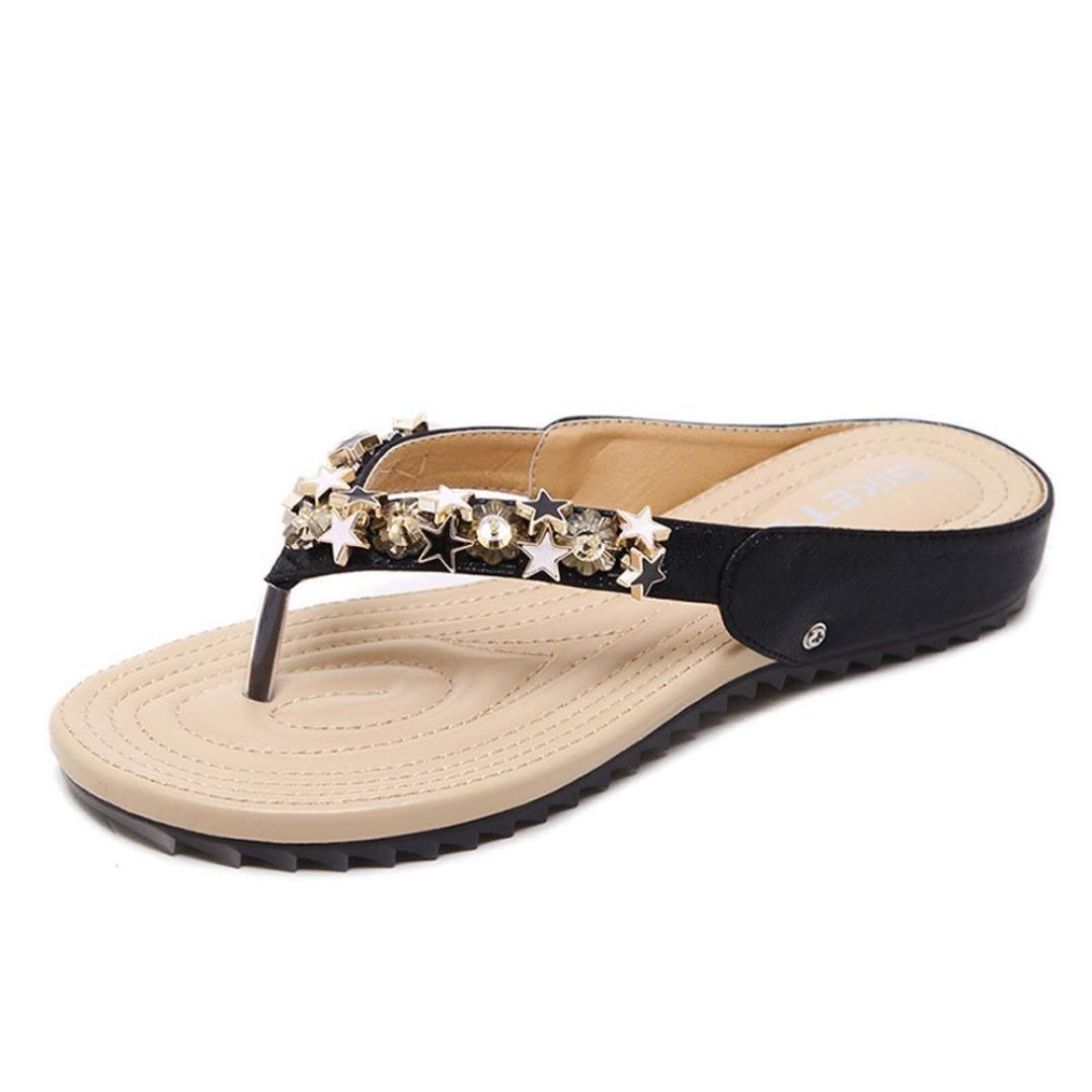 Sunbona Beach slippers Women ,Ladies Summer Boho Bead Flip Flops Slippers Flat Sandals Indoor&Outdoor Casual Shoes (US:6, Black)