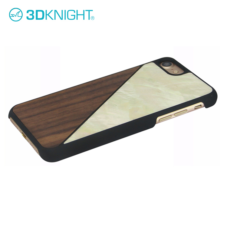 Unique Design Slash Walnut Wood Seashell Mixture Cell Phone Case For iphone 7
