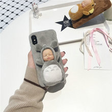 Mobile accessories cute winter girl use plush bear phone case for iphone 7 7 plus case