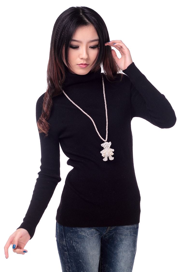 Autumn and winter women sweater thickening women's slim turtleneck cashmere sweater black basic knitted sweater shirt