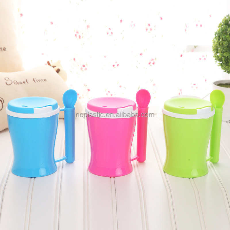 350ml Single Cup Loose Tea Brewing System plastic cup with spoon in handle and lid