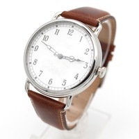 Custom Watch Hand arabic numbers watch with brown leather band