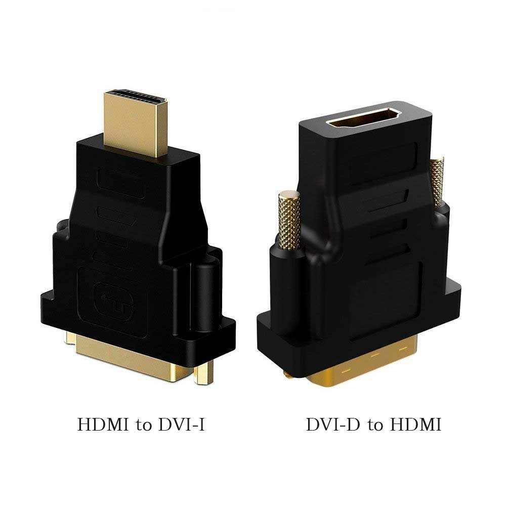 Top-Longer HDMI to DVI , DVI to HDMI Adapter Gold-plated HDTV HDMI to DVI / DVI to HDMI HDTV (Male to Female) Adapter - Black (2-Pack)