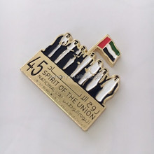 Customized UAE National Day Badges UAE Sheiks Flag Pin Badge The United Arab Emirates Custom Gold/ Silver Badges With Magnet