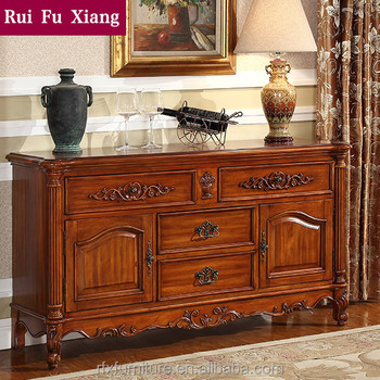 Solid Rubber Wood Sideboard Cabinet For Luxury Dining Room Furniture AD 205