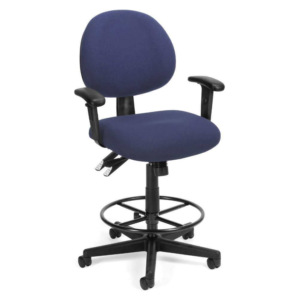 OFM 24 Hour Computer Task Chair with Arms and Drafting Kit Blue 241-AA-DK-202