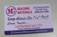 Plastic Discount Cards For Building Material Sale
