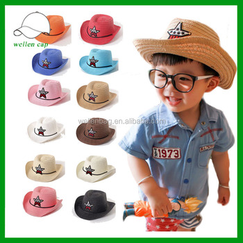 Cheap Summer Bulk Child Paper Straw Hat Wholesale Kids Cowboy ... 34d6ea596b54