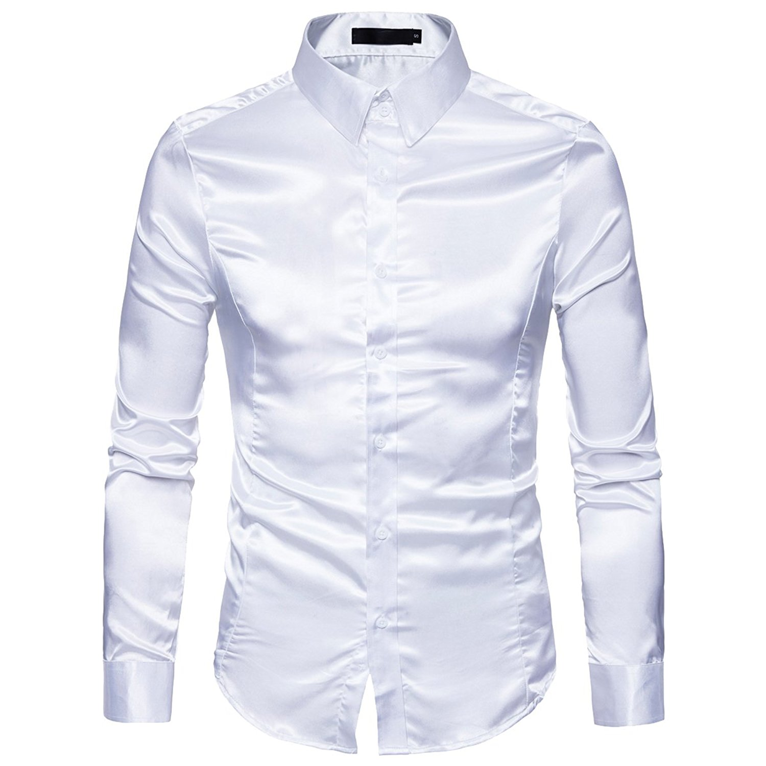b867d9d80d5301 Get Quotations · Cottory Men's Night Club Style Satin Weave Pure Color  Button Down Shirts