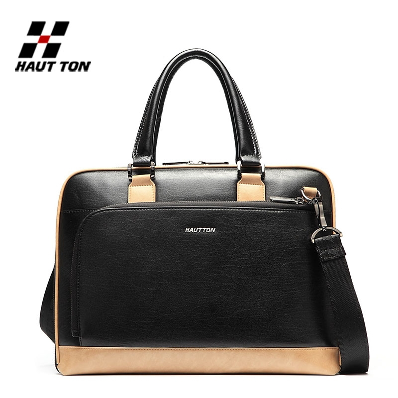 Hautton popular young men genuine leather school bag for books and laptop