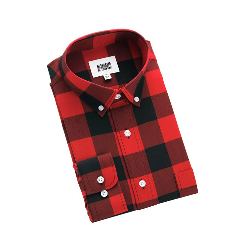 GOOD QUALITY FASHION BUFFALO PLAID FLANNEL SHIRT MEN