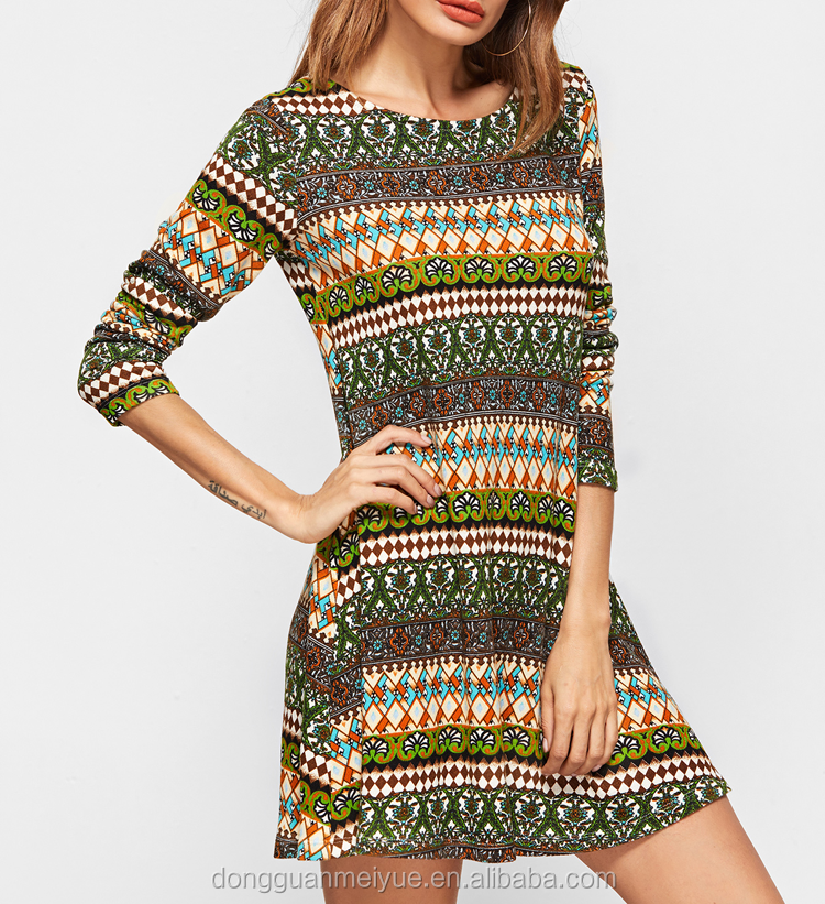 Customized Multicolor Geometric Print Long Sleeve A Line Dress