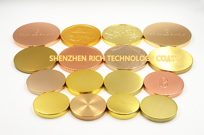 Gold plating metal candle lids