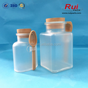 ABS bath salts plastic bottle with wooden lid and spoon Frost cosmetic packaging bottles for SPA bath salt Free samples bottle