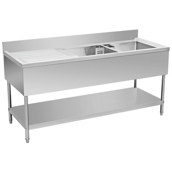 Stainless Steel Double Sink Bench With Splashback U0026 Pot Shelf BN S18/19