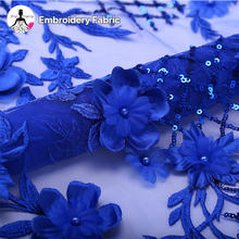 soft-touching china textile beaded 3d flower tulle french lace sequin embroidery fabric
