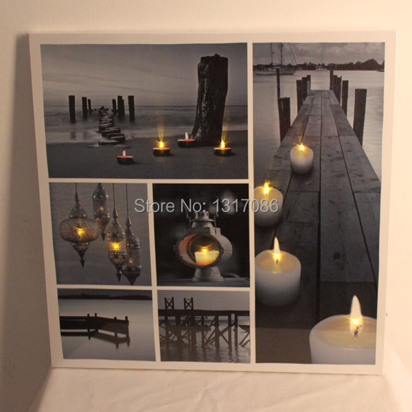 Free Shipping Zen Candle Canvas Pictures With Led Lights