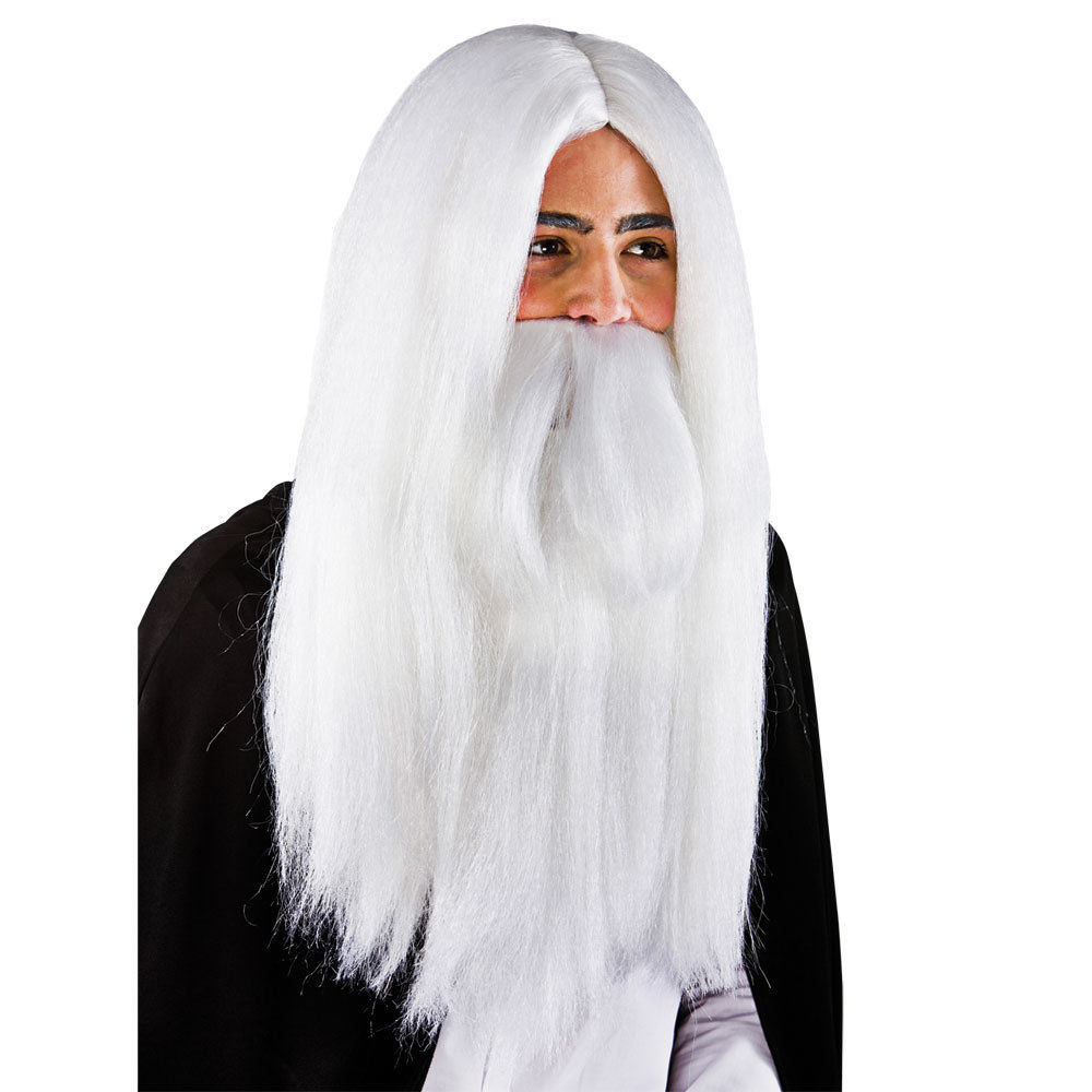 Mens White Wizard Wig & Beard Outfit Accessory for Fancy Dress Mans Male W20027