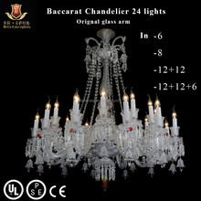 24 Lights baccarat chandelier finished in clear crystal