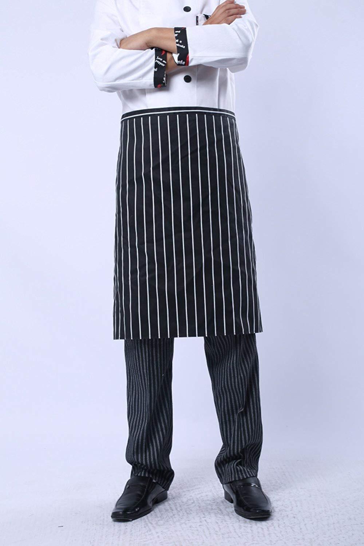 Kitchen Bib Aprons Man Cotton Polyester Commercial Restaurant Waiter Waitress Server Barista Waist Half Waist Men Apron, 1 Pocket (Black and white stripes)