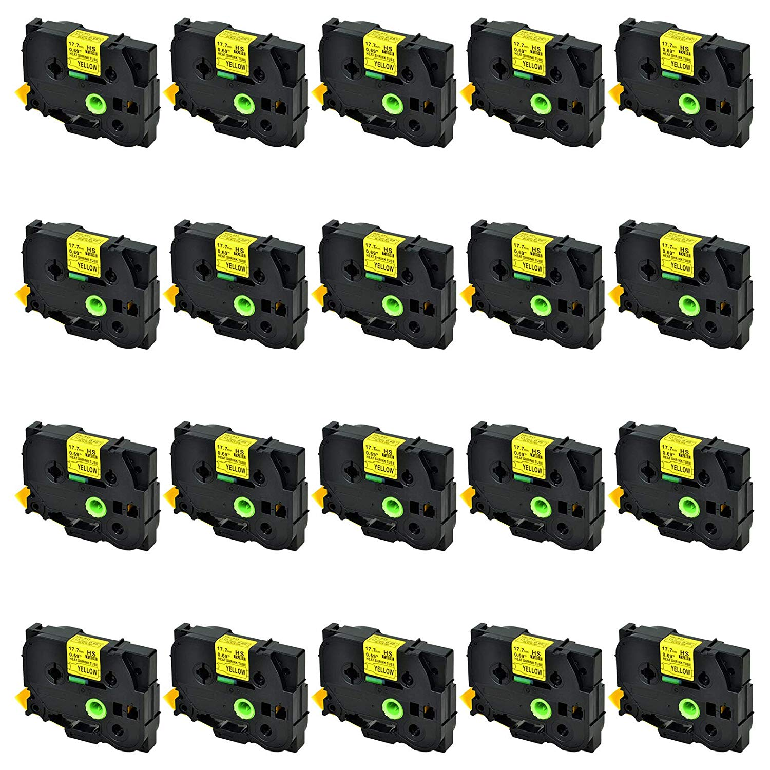 SuperInk 20 Pack Compatible for Brother HSe-641 HSe641 HS-641 HS641 Black on Yellow Heat Shrink Tube Label Tape use in Brother PT-E300 PT-E500 PT-P750WVP Printer (0.69''x 4.92ft, 17.7mm x 1.5m)