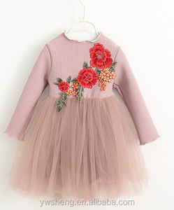 The new autumn and winter children 's clothing girls' long - sleeved lace dress