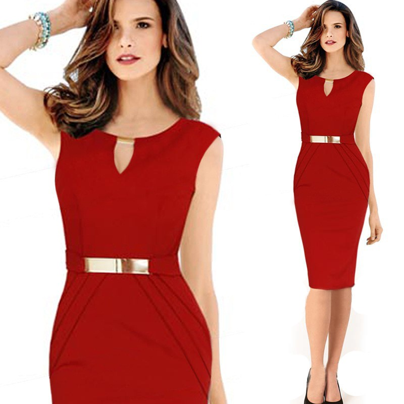 20701  V Neck Metal Waistband Woman Fashion Beautiful Lady Formal One-Piece Dress
