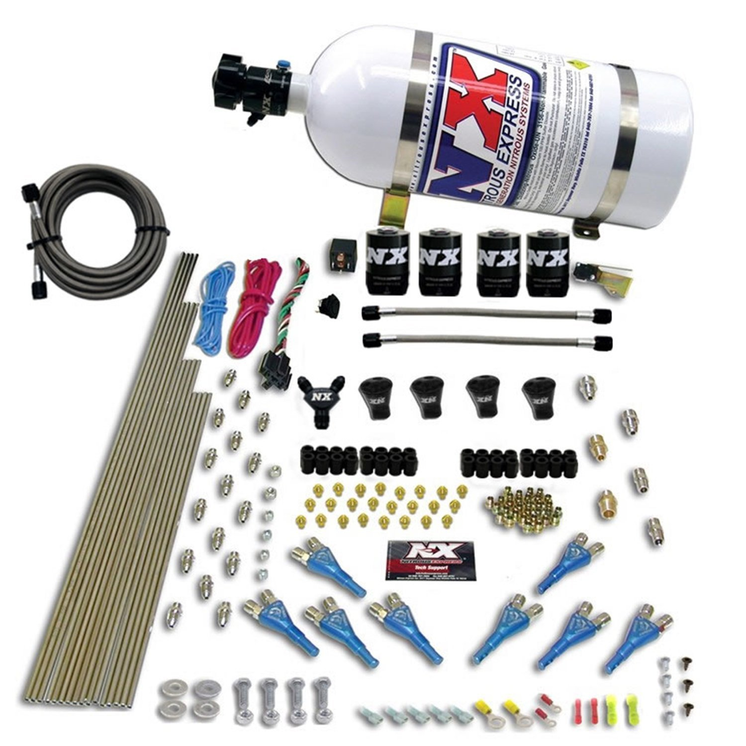Bottle Rails and 15 lbs Nitrous Express 91006-15 200-600 HP 8-Cylinder Gasoline Pro Shark Direct Port System with 4 Solenoids