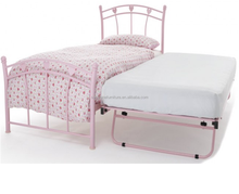 ODM/OEM wholesale home furniture sigle gloss metal guest bed frame, pink