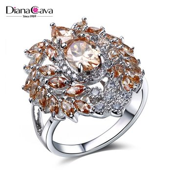 Luxury Fashion Best Quality Cz Jewellery Champagne Color Evening Party Wedding Ring