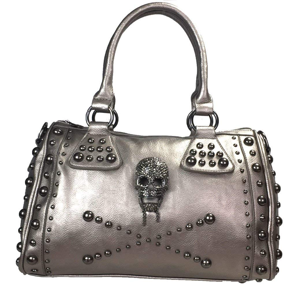Get Quotations · Zzfab Studded Skull Purse Satchel Pewter de2365ef5842f