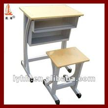 Double drawers Modern middle school single student desk and chair with 2 storage space