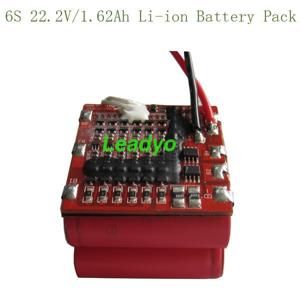 18500 battery packs ,1.62Ah customized 22.2V li-in battery pack with BMS/PCM